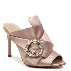 New high heeled pink mauve mule satin sandal